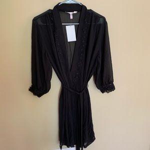 NWT Sheer black robe size M